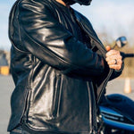 Revolt Premium Cafe Style Mens Leather Motorcycle Jacket pocket view