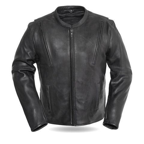 Revolt Premium Cafe Style Mens Leather Motorcycle Jacket front