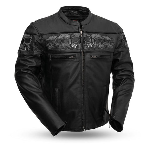 savage skulls leather jacket front