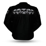 savage skulls leather jacket rear view