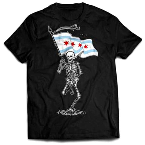 Skeleton Holding Chicago Flag Tshirt