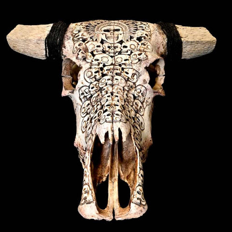 Hand Carved Cow Skull with Skull Design