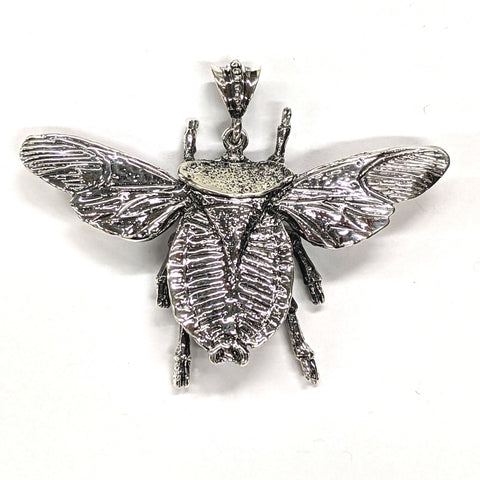 Silver Plated Steel Moth Pendant