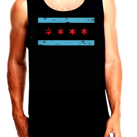 Distressed Chicago Flag Tank Top