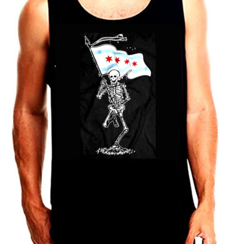 Skeleton Holding Chicago Flag Tank Top