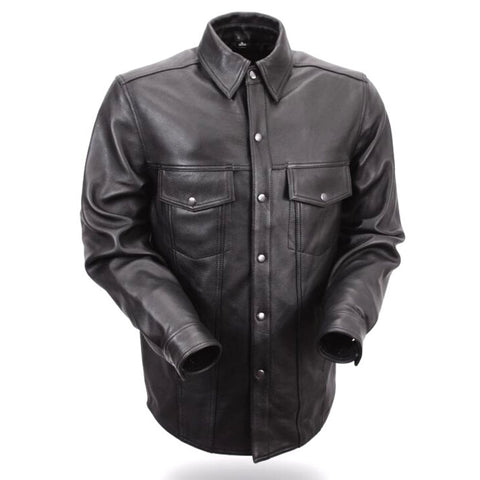 The Milestone Mens Leather Motorcycle Shirt
