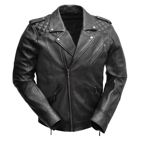 Classic Mens Sheepskin Leather Motorcycle Jacket with Quilted Shoulders