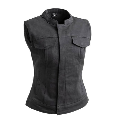 Womens Club Style Twill Motorcycle Vest