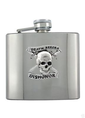 Death Before Dishonor Chrome Flask - The Alley Chicago