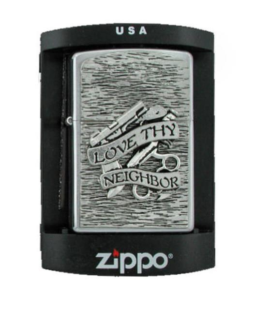 Mobtown Love Thy Neighbor Zippo Lighter - The Alley Chicago
