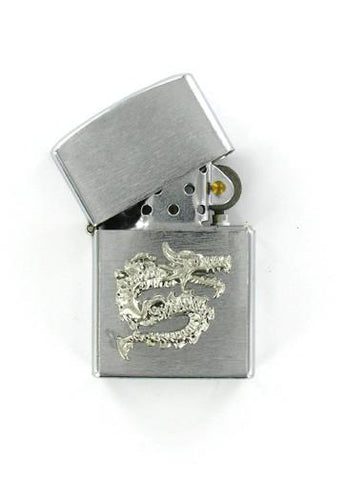 Accessories - Asian Dragon Skull Emblem Chrome Lighter