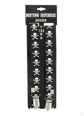 Accessories - Black And White Skull And Crossbones Suspenders