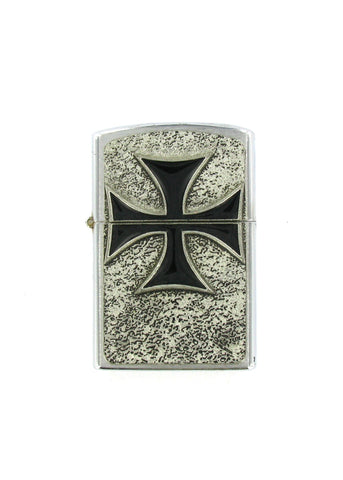 Accessories - Black Iron Cross Full Body Chrome Lighter