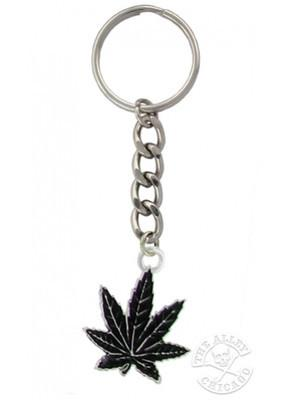 Accessories - Black Pot Leaf Keychain