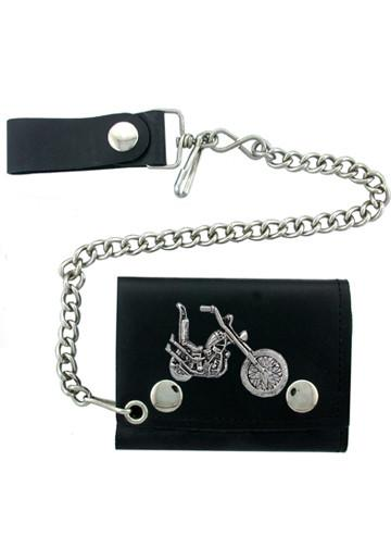 Accessories - Chopper Motorcycle Tri-fold Biker Wallet With Chain