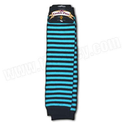 Accessories - Cookie Puss Aqua And Black Striped Arm Warmer