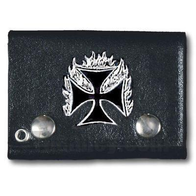 Accessories - Flaming Iron Cross Tri-fold Biker Wallet