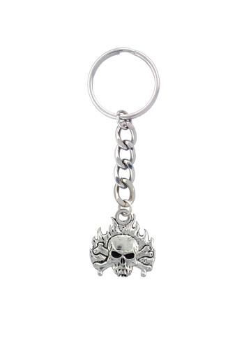 Accessories - Flaming Vampire Skull & Crossbones Keychain