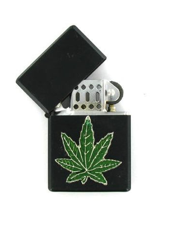 Accessories - Green Pot Leaf Black Lighter