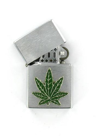 Accessories - Green Pot Leaf Emblem Chrome Lighter