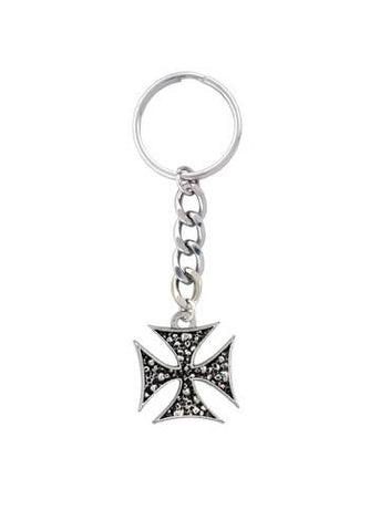 Accessories - Iron Cross Pile Of Skulls Keychain