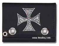 Accessories - Pile Of Skulls Iron Cross Tri-fold Biker Wallet