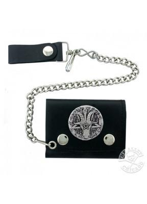 Accessories - Ram's Head Pentagram Biker Tri-fold Wallet With Chain