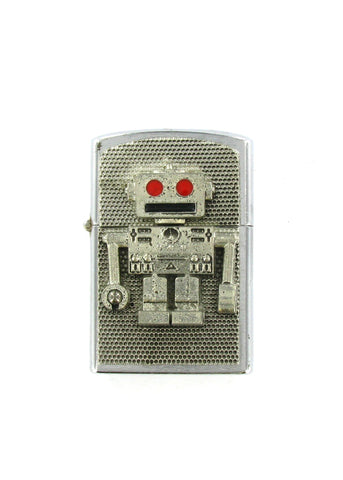 Accessories - Retro Red Eye Robot Full Body Chrome Lighter