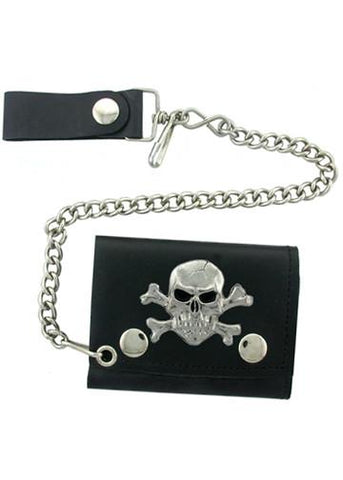 Accessories - Skull And Crossbones Tri-fold Biker Wallet