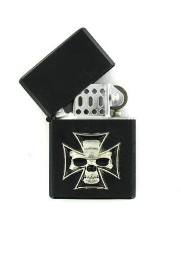 Accessories - Skull In Iron Cross Black Lighter