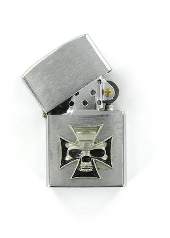 Accessories - Skull In Iron Cross Emblem Chrome Lighter