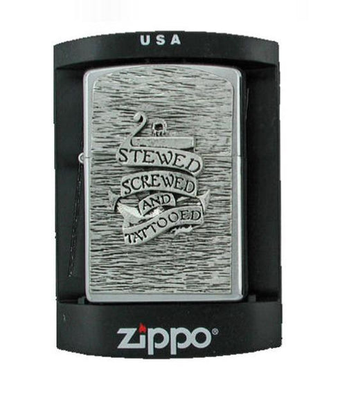 Accessories - Stewed Screwed And Tattooed Anchor Zippo Lighter