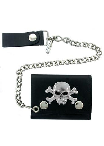 Accessories - Vampire Skull And Crossbones Tri-fold Biker Wallet With Chain