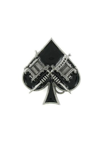 Belts & Buckles - Ace Of Spades With Tattoo Guns Belt Buckle
