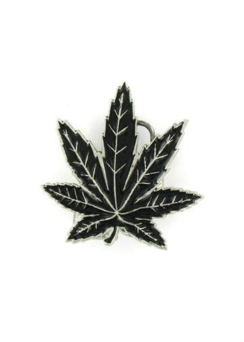 Belts & Buckles - Black Pot Leaf Belt Buckle