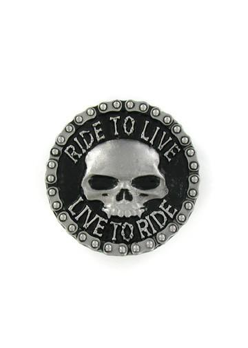 "Belts & Buckles - Classic Vampire Skull ""Ride To Live - Live To Ride"" Bike Chain Belt Buckle"