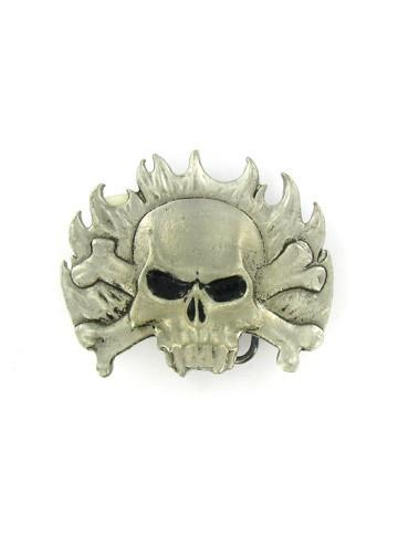 Belts & Buckles - Flaming Vampire Skull And Crossbones Belt Buckle