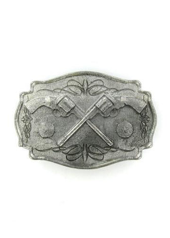 Belts & Buckles - Old West Crossed Pistols Belt Buckle