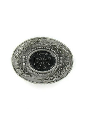 Belts & Buckles - Ornate Oval Black Iron Cross Belt Buckle
