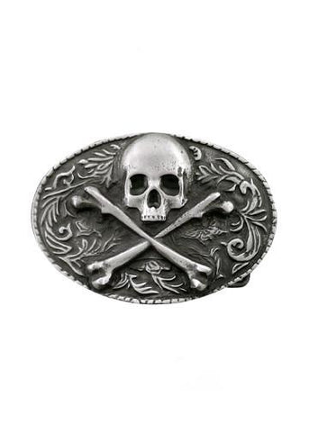 Belts & Buckles - Ornate Oval Skull & Crossbones Belt Buckle