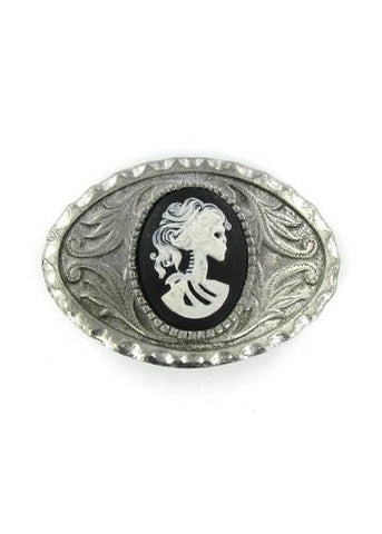 Belts & Buckles - Ornate Oval Western Style White Zombie Bride Cameo Belt Buckle