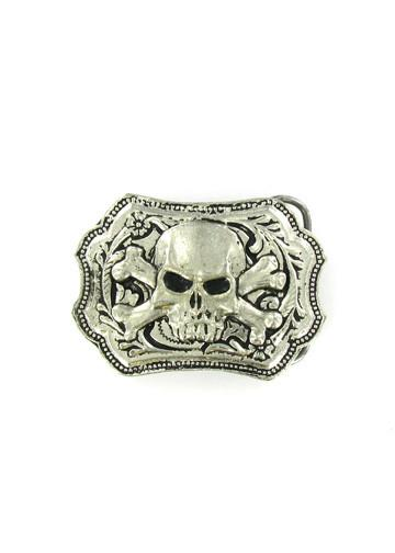 Belts & Buckles - Ornate Western Style Vampire Skull & Crossbones Belt Buckle