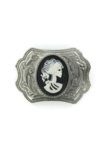 Belts & Buckles - Ornate Western Style White Zombie Bride Cameo Belt Buckle