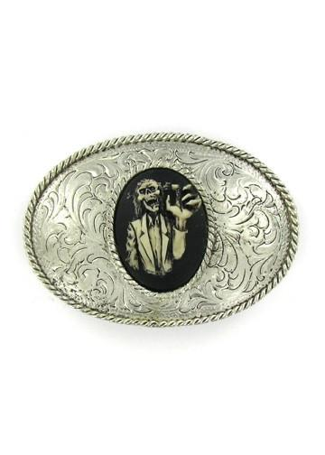 Belts & Buckles - Oval Western Style Zombie Grab Cameo Belt Buckle