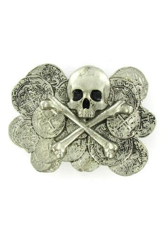 Belts & Buckles - Pirate Treasure - Skull And Crossbones With Doubloons Belt Buckle