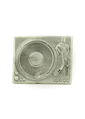 Belts & Buckles - Silver Record Player DJ Turntable Belt Buckle