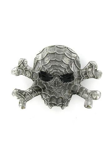Belts & Buckles - Spider Webs Vampire Skull & Crossbones Belt Buckle