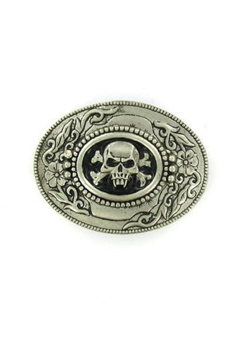Belts & Buckles - Vampire Skull And Crossbones Antiqued Oval Belt Buckle