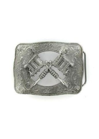 Belts & Buckles - Western Style Crossed Tattoo Guns Belt Buckle