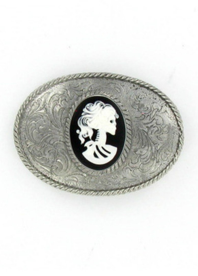 Belts & Buckles - White Zombie Cameo Etched Oval Belt Buckle